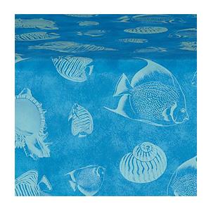 Carlisle Marko Designer Series Shell Fish Tablecover Roll Ocean Blue